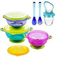 吸盘婴儿碗,婴儿喂食碗套装带新鲜食物喂食器和 2 个热*婴儿勺和叉子 - 完美的宝宝淋浴礼品套装3件套带盖吸盘碗,不含 BPA。