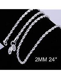 Zhiwen 时尚 925 纯银 2MM 扭曲绳链蛇形细链项链男式链(40.64-60.96 厘米)