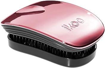 IKOO 德国直发梳 按摩梳魔力美发梳 经典简约系列便携型 玫瑰粉-黑底(亚马逊自营商品, 由供应商配送)
