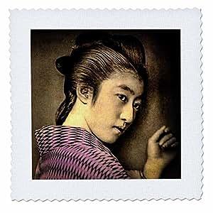 3D Rose 复古日式吉萨姿势在阴影中手工染色绗缝方形,20.32 x 20.32 厘米