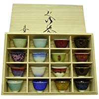 真右卫门窑 釉彩 杯子 16色 16个套装 木盒 354065B770