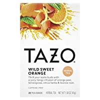 Tazo Herbal Tea Tea Bags For a Citrus Beverage Wild Sweet Orange Caffeine-Free 20 Tea Bags, Pack of 6