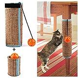 Natural Sisal 猫抓挠柱,2 件套(剑麻猫抓柱和猫爬架垫),空心猫剑麻猫抓柱带声音铃球玩具,适用于爪家具保护
