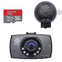 RAFER(任法兽) G30 行车记录仪 5倍超强吸力 循环录像 150度广角 2.7英寸屏幕 1080P高清画面 停车监控 自动视频保护 红外夜视 (官方标配+16GB储存卡)