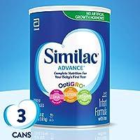 Similac 雅培 Advance 婴儿配方奶粉,含铁,一个月供应量,36 盎司(1.02kg)(3 件装)