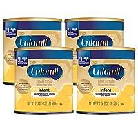 Mead Johnson 美赞臣 Enfamil 铂睿 温和婴幼儿成分奶粉,21.1盎司(384毫升),4包—Omega 3,益生元,铁,有益于大脑