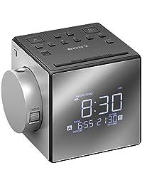 Sony 索尼ICFC1PJ.CEK帶時間投影儀的時鐘收音機-黑色/銀色