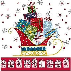 餐厅系列圣诞午餐尺寸餐巾纸 - 20 片 Santa's Sleigh 20份