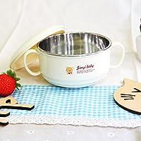 婴儿辅食碗 双耳儿童餐碗 防烫304不锈钢环保材质儿童餐碗带盖