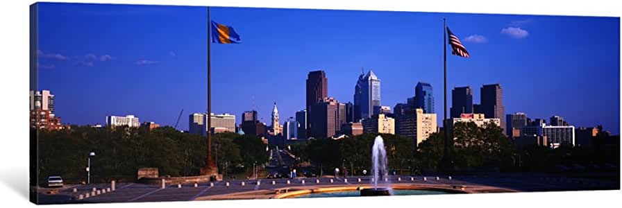 iCanvasART PIM1929-1PC3 Fountain at Art Museum with City Skyline, Philadelphia, Pennsylvania, USA Canvas Print by Panoramic Images, 0.75 by 36 by 12-Inch