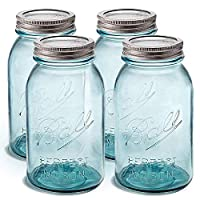 漂亮的蓝色梅森罐带盖子 32 盎司(约 907.2 毫升) 广口夸脱大小[4 件装]玻璃罐罐,适用于罐装和储存、工艺品和装饰