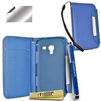 Accessory Master 5055716333718 优雅钱包书本风格皮包带屏幕保护膜和笔,适用于 Samsung Galaxy Ace 2 蓝色