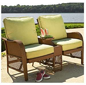 Agio International BGF02304K01 Providence Patio Collection T te- -T te Bistro Set, Wood-Look Aluminum Frame + Cushion 1