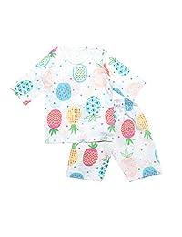 OllCHAENGi 幼童男孩女孩棉质睡衣套装 3/4 袖 3T-14Y 菠萝