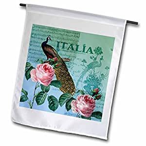 PS vintage – 孔雀和 ROSES 复古 Italia 艺术 – 旗帜 12 x 18 inch Garden Flag