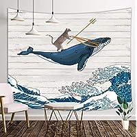 趣味猫咪挂毯,海浪鲸鱼复古木制挂毯,东方复古 Kanagawa 日本波浪艺术挂毯,挂毯壁挂挂,适用于卧室客厅宿舍,180.34 x 152.4 厘米