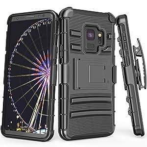 Galaxy S9 手机壳,TILL [骑士盔甲] 重型全包坚固皮套弹性盔甲手机壳 [旋转皮带夹] [支架] 组合外壳适用于三星 Galaxy S9 2018 5.8英寸的所有运营商 黑色/黑色