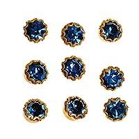9 个小*蓝水钻纽扣套装 - 镶嵌金色 1/4 英寸 hmm 九爪水晶水钻纽扣带柄电镀、衬衫、正式晚宴、