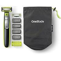 Philips 飞利浦 OneBlade 混合身体和面部胡茬修剪器,4倍长度,一个额外的刀片和旅行袋(英国2针浴室插头),QP2630/30