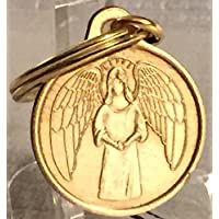 wendells 守护天使 2.54 cm 青铜钥匙链标签 He Will Command Angels 钥匙扣