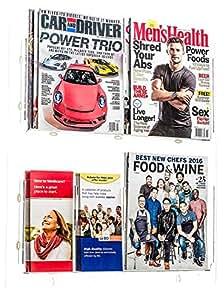 AdirOffice 悬挂杂志架 - 壁挂式报纸和小册子夹 - 耐用、可调节、透明丙烯酸储物袋 - 易于安装 20'' x 23'' 透明