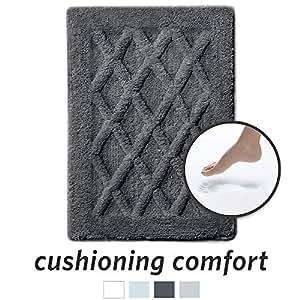 MICRODRY 豪华软头,炭黑色*泡沫浴垫,带防滑底座 炭黑色 17x24