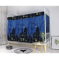 学生宿舍双层床隐私窗帘单床遮光布家居装饰遮光板防尘大学学校 Blue Starry City 1.2m (2 pieces) 95