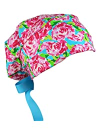女士*磨砂帽可调节中码至大码,带丝带领带(腮红玫瑰)