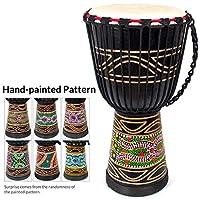非洲鼓,手绘邦戈刚果金杯鼓 24.13 厘米 x 50.8 厘米 桃花心木山羊皮鼓 适合儿童初学者(黑色)