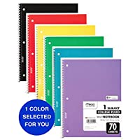 Mead Spiral Notebook, College Ruled, 1 Subject, 70 Sheets, 8 x 10.5 Inches, Assorted Colors