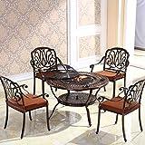 莫家户外烧烤桌椅家用烧烤炉铁艺露天餐桌铸铝室外休闲庭院桌椅