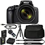 Nikon COOLPIX P900 数码相机:带 83x 光学变焦和内置 Wi-Fi(黑色)+ 64GB 1200X SDXC 卡 + 2 节 EN-EL23 电池 + 保护套 + 弹性三脚架 + 专业套装:国际版
