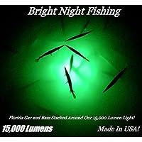 Bright Night Fishing 25英尺电池夹 水下钓鱼灯 * 15,000 流明 300 LED 360 度可潜水优先配送 盐水 淡水 12v DC 基座灯 船 CRAPPIE BR:15000