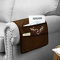 """Guken 沙发扶手收纳袋,沙发扶手椅收纳袋,5个口袋,可放置电视遥控器、杂志、智能手机、书籍、iPad(棕色,13""""X35"""")"""