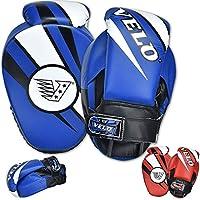 VELO 拳击聚焦垫拳击手套超细纤维皮革钩和夹头训练拳击曲形手套