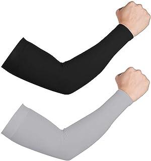 Top Souls 2 对袖套防紫外线,冷却压缩袖套带手提套,适合男士和女士,户外弹性运动