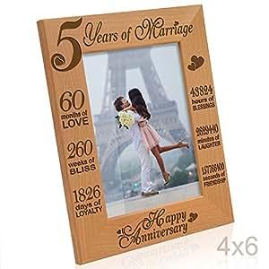 Kate Posh - 5 Years of Marriage 相框 - * 5 幅木 - 雕刻天然实木相框 天然实木 4x6-Vertical (Happy Anniversary) 43222-4781