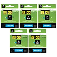 DYMO 45018 D1 Tape Cartridge for Dymo Label Makers, Created Specifically for Your LabelManager and LabelWriter Duo Label Makers, 1/2-inch x 23 Feet, Black on Yellow, Pack of 5