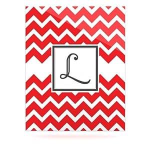 Kess InHouse KESS 原装铝制浮动艺术板,40.64 x 50.80 厘米,字母字母 L,V 形红色