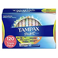 Tampax Pocket Pearl Plastic Tampons, Regular/Super/Super Plus Absorbancy Triplepack, Unscented, 30 Count - Pack of 4 (120 Count Total) (Packaging May Vary)
