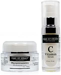 Joan Of Grace Phyoceramides 皮肤修复霜 1盎司,15% 维生素 C 精华液,0.5盎司组合
