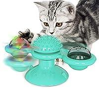 NWK 互动猫咪玩具,趣味旋转风车便携式吸盘刮擦毛刷*按摩硅胶可洗,6.2'' X 2.8'' 蓝色