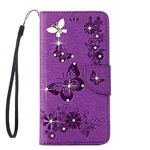 三星 Galaxy Note 8 手机壳,ARSUE 减震 3D 手工制作优质柔软翻盖对开【支架功能】 PU 皮革钱包蝴蝶花朵手机壳带身份证和信用卡口袋适用于三星 Galaxy Note 8, Purple/Bling