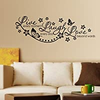 Decals Design StickersKart Wall Stickers Live Laugh and Love Wall Quote Family (Black)