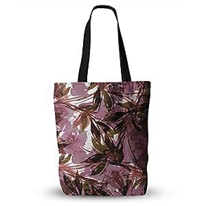 "KESS InHouse Ebi Emporium ""Floral Fiesta Mauve Pink""图案水彩手提包,40.64 x 40.64 厘米,多色"