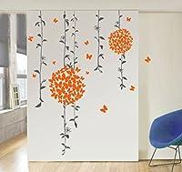 StickersKart Wall Stickers Orange Butterflies Bathroom Decal (Multi-Colour, 1...-71402
