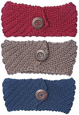 Bertelli 3 件装女士冬季针织头带和发带耳朵保暖 Red-nave-khaki One Size