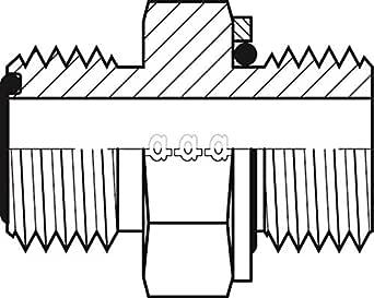 "Adaptall 6068-10-18 系列 6068 碳钢直适配器带垫圈和 O 形圈,1""-14 公 ORFS x M18X1.5 公制,ORFS x 公制,碳钢"