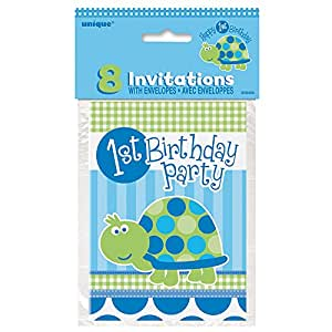 Unique Turtle First Birthday Invitations (8 Count), Multicolored