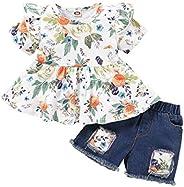 寶貝小女孩牛仔短褲套裝荷葉袖花卉襯衫 + 牛仔短褲 2 件套夏季服裝適合 2-3T 女孩